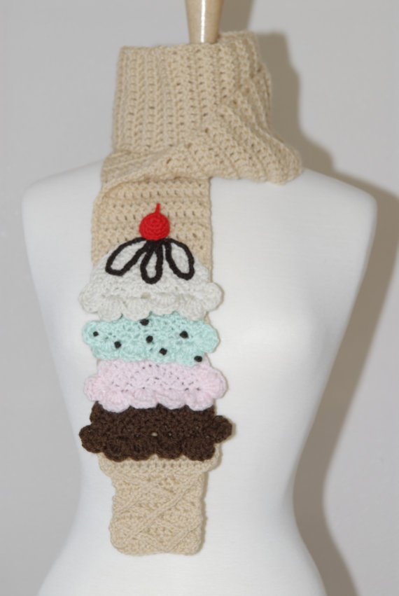 """This Yummy Ice Cream Scarf is from my new collection Gitana's Yummies they are crocheted by me and they are exclusive design by """"Gitana Flip Flops"""". These beautiful and unique crochet ice cream scarf are handmade with 100% soft acrylic yarn, best part of it is they are non preservative, non calories and fat free. :)    Measures Approximately:  5 1/2""""W x 64""""L  Wash by hands and dry flat."""