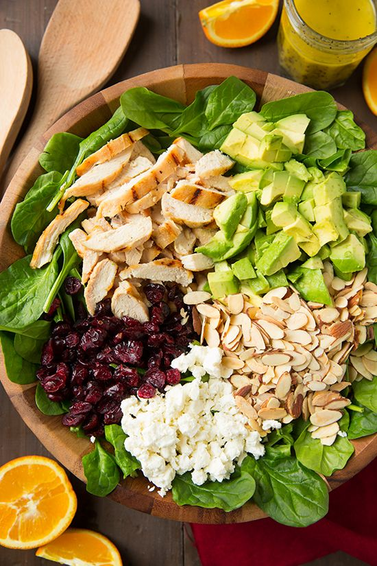 Cranberry Avocado Spinach Salad with Chicken and Orange Poppyseed Dressing by @cookingclassy