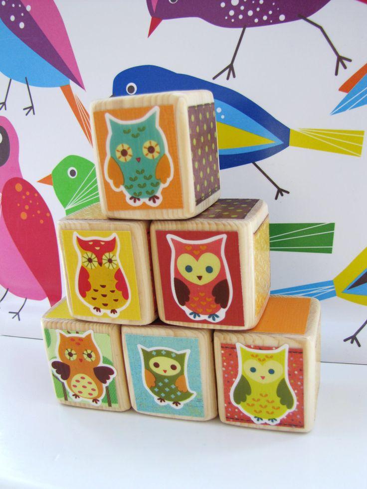 OWL Nursery Decor. Baby Shower Decoration. Personalization Available- Baby Blocks. Woodland Owls. $24.00, via Etsy.