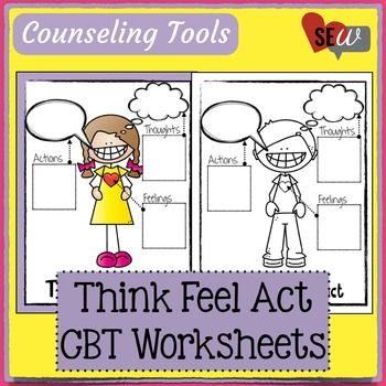 I use this diagram frequently in counseling with other CBT Tools to help explain the relationship between Thinking, Feeling, and Acting.  I have students complete the worksheets following a problem or a success they experience.  SAVE by buying the BUNDLE!