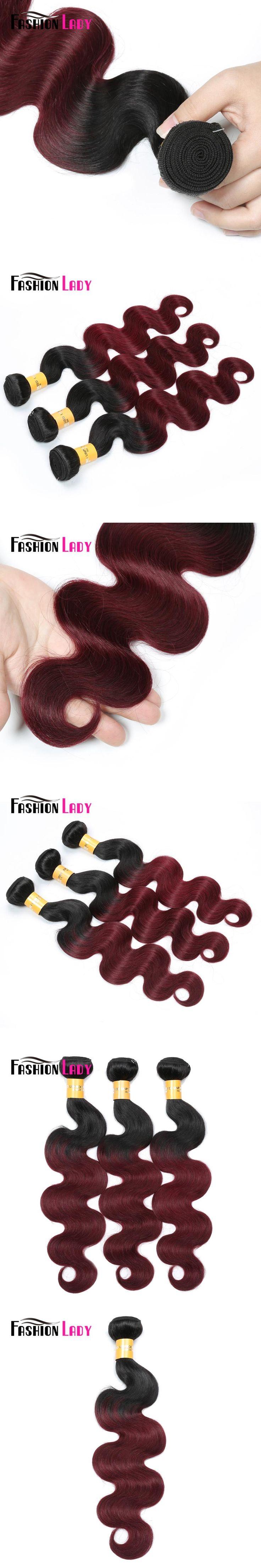 Fashion Lady Pre-Colored Brazilian Body Wave Hair 3 Bundles 1b/99j Ombre Human Hair Extensions 100% Human Hair Non-remy