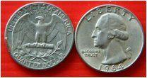 США квотер 25 центов 1964 монетный двор D Рузвельт СЕРЕБРО
