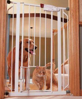 Easy one touch walk through dog gate features all steel construction and a small door to allow small pets to pass through without swinging open the entire dog gate . Dog gate with door is extra-tall a