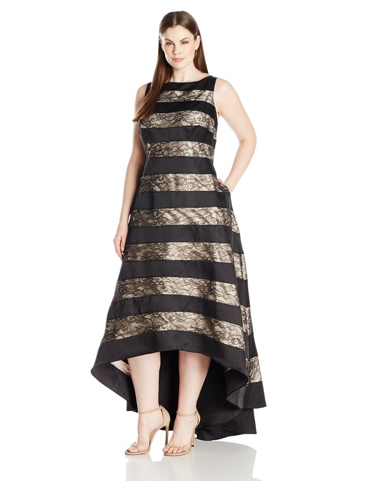 Adrianna Papell Womens Plus Size Sleevless Striped Lace and Mikado Hi Low  Gown Womans Black 14W