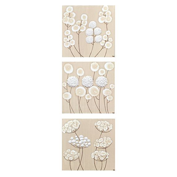 Neutral Canvas Art - Textured Flower Paintings in Khaki and White - Set of Three Wall Art 32X10 - MADE TO ORDER