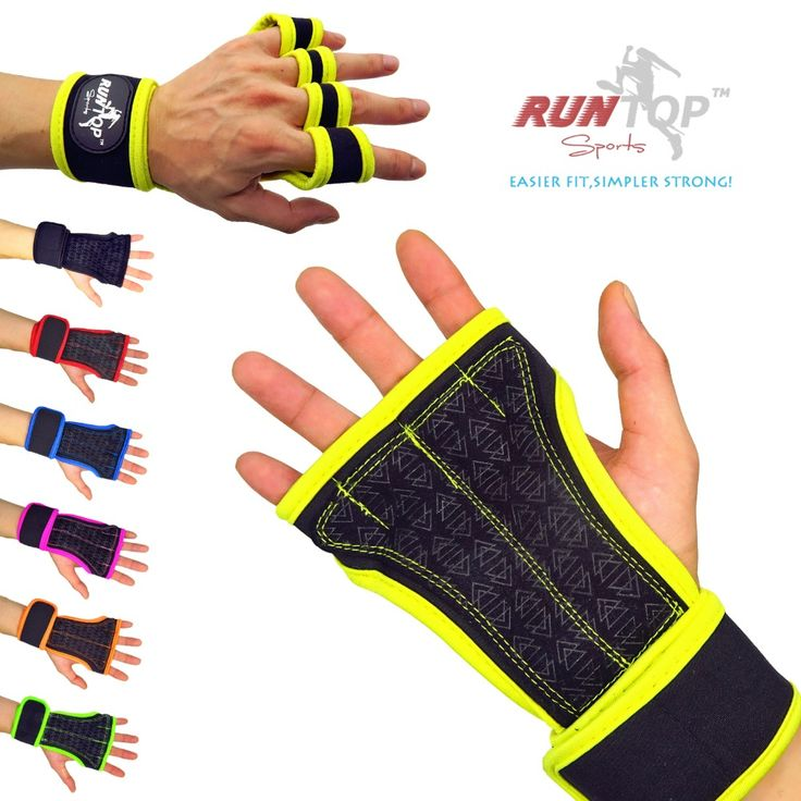 RUNTOP Weight Lifting Gloves Crossfit Training Workout Fitness Exercise GYM Hand Grips Silicon Palm Protect Wrist Wrap Support