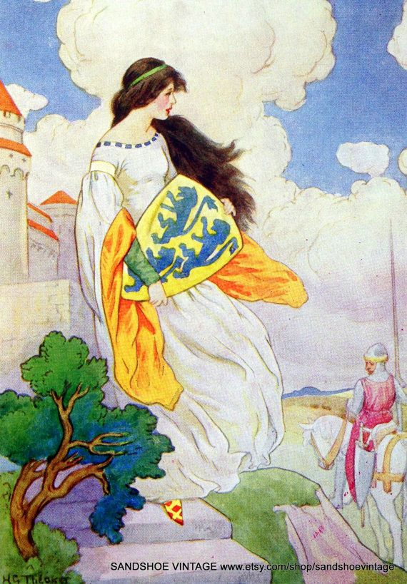 1930s GUINEVERE KING ARTHUR of the Round Table By Harry G Theaker Print Perfect for Framing on Etsy, $4.59 AUD
