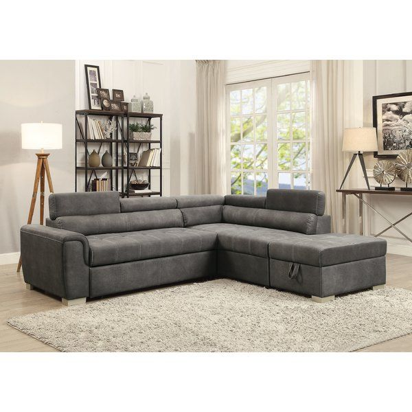 Truesdale Sleeper Sectional With Ottoman Microfiber Sectional Sofa Sectional Sleeper Sofa Grey Sectional Sofa