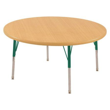 ECR4Kids 60 inch Round T-Mold Adjustable Activity Table, Green