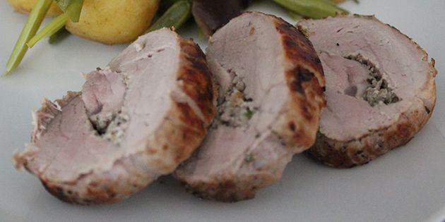Saftig og lækker svinemørbrad med fyld.