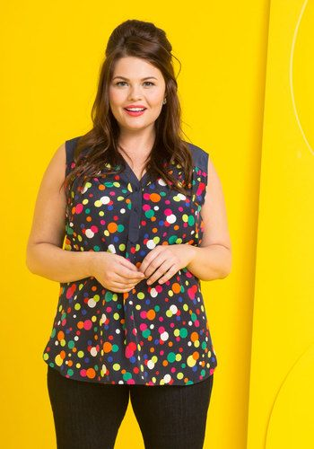 Girl About Easton Tunic in Dots by ModCloth - Blue, Multi, Polka Dots, Print, Buttons, Work, Mod, Sleeveless, Woven, Better, Exclusives, Private Label, V Neck, Long, Colorsplash, Variation, SF Fit Shop