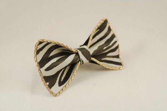 Gold frame zebra bow tie by LimeG on Etsy