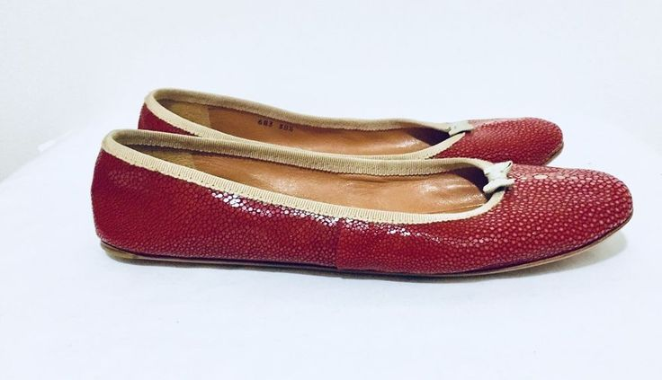Authentic ALAIA Paris Red Snakes Skin Ballet Flats Bow, Reptile, 38.5 US 8.5 #ALAIA #BalletFlats
