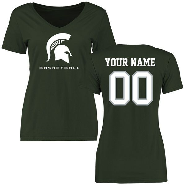 Michigan State Spartans Women's Personalized Basketball Slim Fit T-Shirt - Green - $37.99