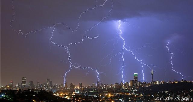 A proper highveld thunderstorm ... Lightning over Johannesburg City by Living Canvas - Mitchell Krog, via Flickr