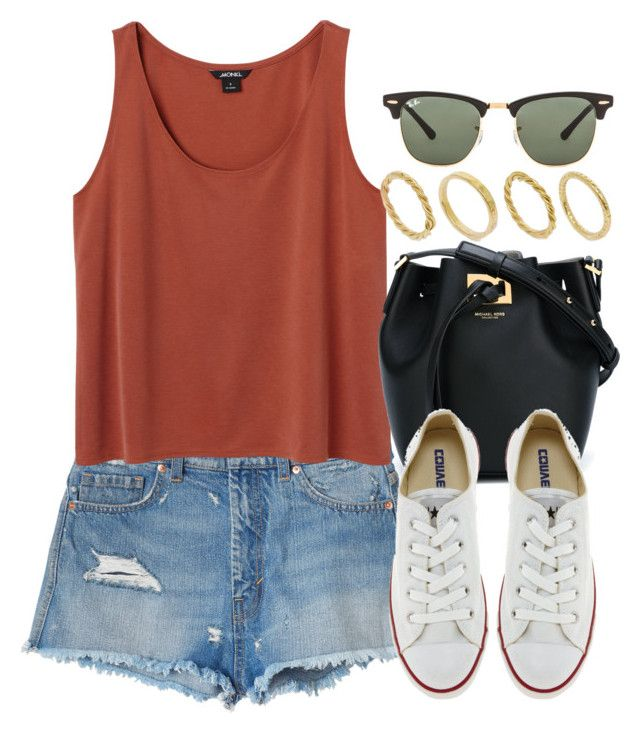 """""""Sin título #12844"""" by vany-alvarado ❤ liked on Polyvore featuring Monki, Michael Kors, Converse, Ray-Ban and Made"""