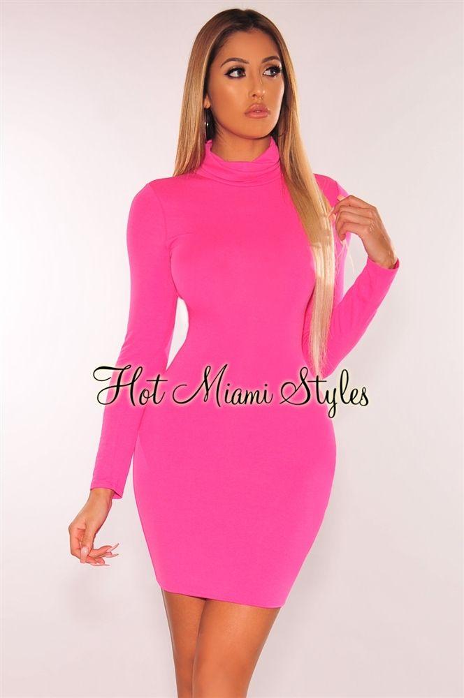 Neon Pink Turtleneck Long Sleeves Dress In 2020 Long Sleeve Turtleneck Dress Hot Miami Styles Dresses Long Sleeve Knit Dress