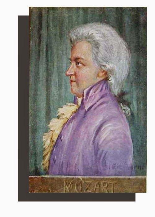 Wolfgang Amadeus Mozart,Austrian composer - Antique Unused Austrian Artist Portrait Postcard, ca. 1900, Bruder Kohn