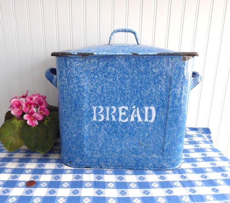 Victorian Blue English Bread Bin Enamelware Bread Box Chippy Edwardian Graniteware