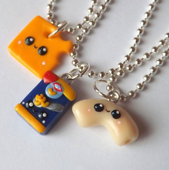 Mac and Cheese Best Friends Necklaces  by PitterPatterPolymer