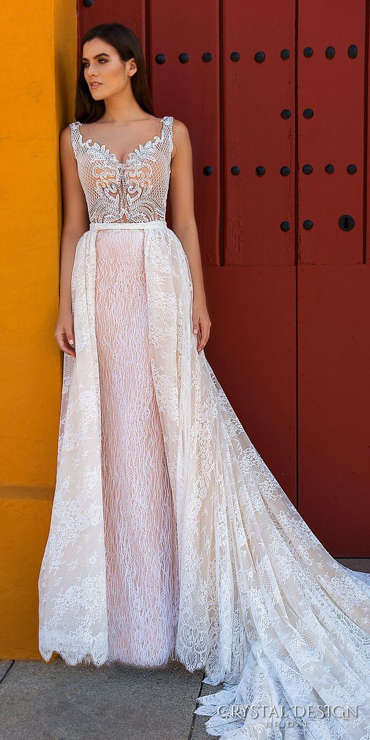 Crystal Design 2017 bridal sleeveless with strap full embellishment elegant sheath wedding dress a  line overskirt lace back royal train (eliza) mv #wedding #bridal #pink