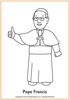 Pope Francis Printables (coloring pages, learn to draw Pope Francis, handwriting, writing page, worksheets, etc.)