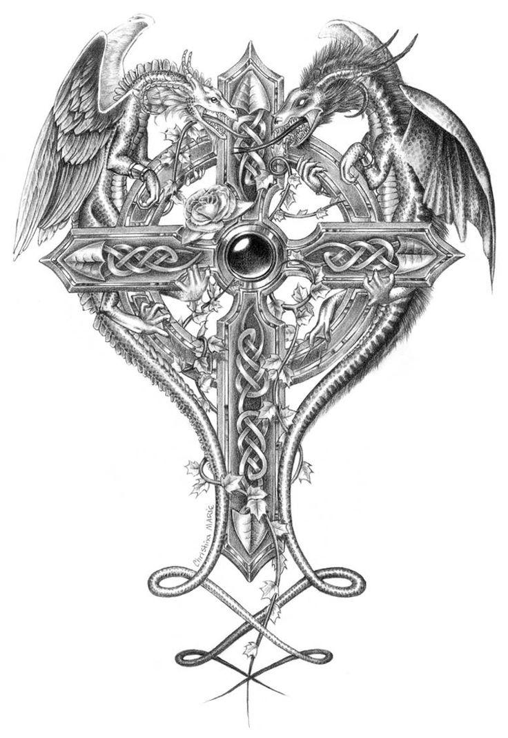Celtic Cross with Dragon Drawings | croix et dragons                                                                                                                                                     Plus