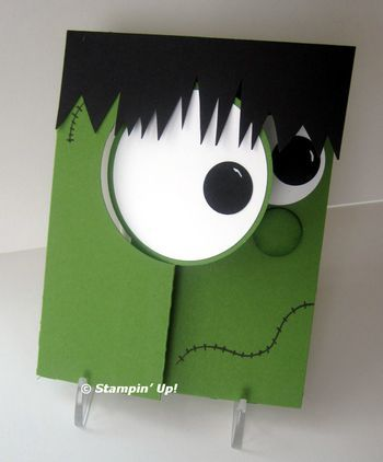 Kari's Frankenstein-Franky Punch Art with Circle Thinlits posted by LeeAnn Greff at Flowerbug's Inkspot-outside
