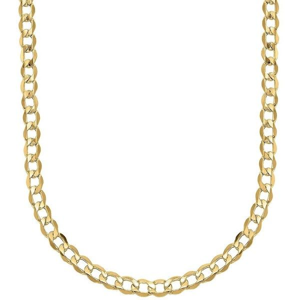 Lord & Taylor 14K  Cuban Chain Link Necklace ($850) ❤ liked on Polyvore featuring men's fashion, men's jewelry, men's necklaces and yellow gold