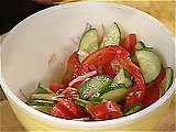 One of my favorite Salads! Cucumber, Onion, Tomato, Olive Oil and Pepper! <3a