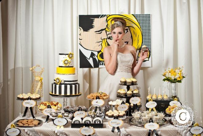 Black, white & yellow: Desserts Table, Bar Display, Desserts Display, Candy Bar, Black White, Desserts Bar, Candy Desserts, Yellow Black, Desserts Buffets