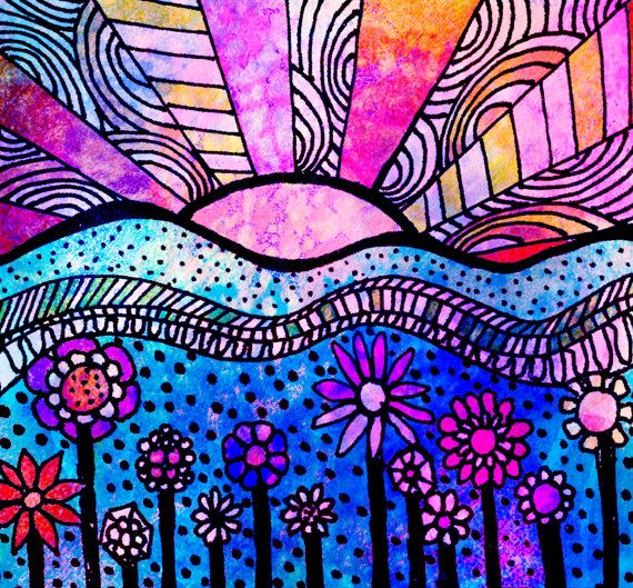 Coloring Pages With Examples. Download Printable Adult Coloring Page digital hand drawn papers by me  printables sun sunset flowers hills 228 best Patterns images on Pinterest books