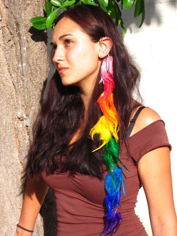 Long Rainbow Feather Ear Cuff on etsy.com $65