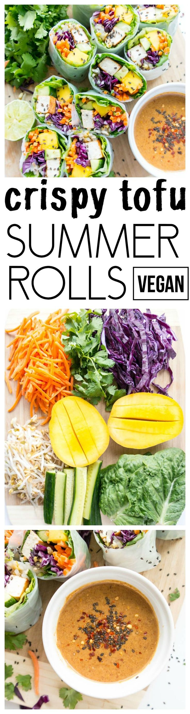 'Tofu Veggie Summer Rolls' with Spicy Almond Butter Sauce. Vegan, Gluten Free, Plant Based. Fresh, light & super healthy with crispy tofu, crunchy veggies, juicy mango & tangy, spicy almond butter dipping sauce! #vegan #summer #rolls