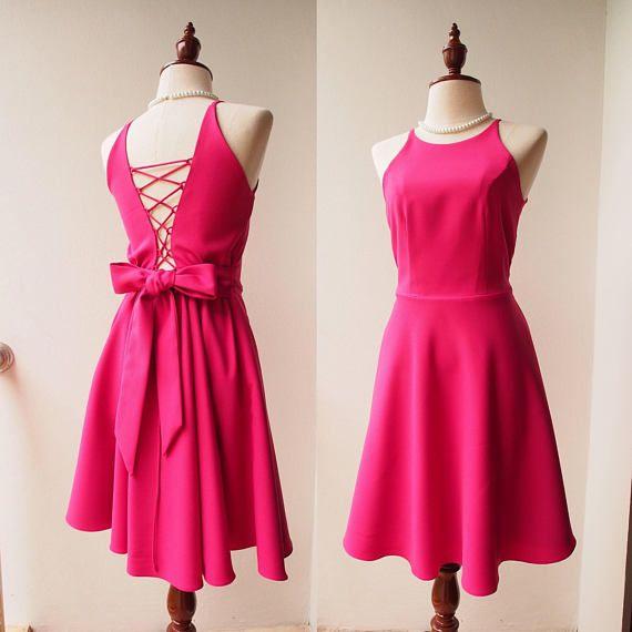 2017 Fuchsia dress Cerise Pink Dress Prom Dress Backless Deep