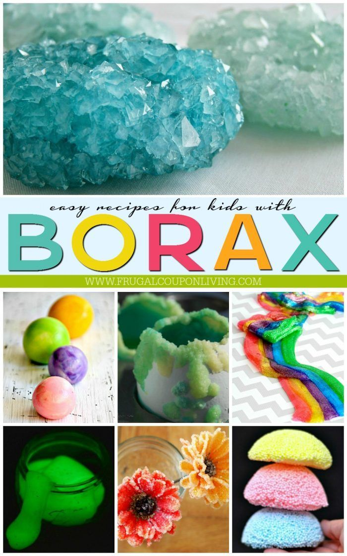 Borax Uses for Kids on Frugal Coupon Living. 15 of the most creative Borax Recipes and science experiments to create in the home. Hands-on science experiments for kids.