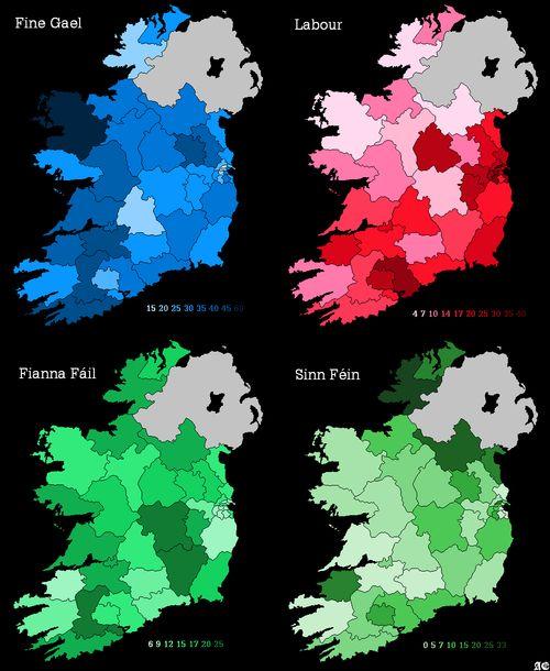 2011      election      electoral map      fianna fail      fine gael      ireland      labour      sinn fein
