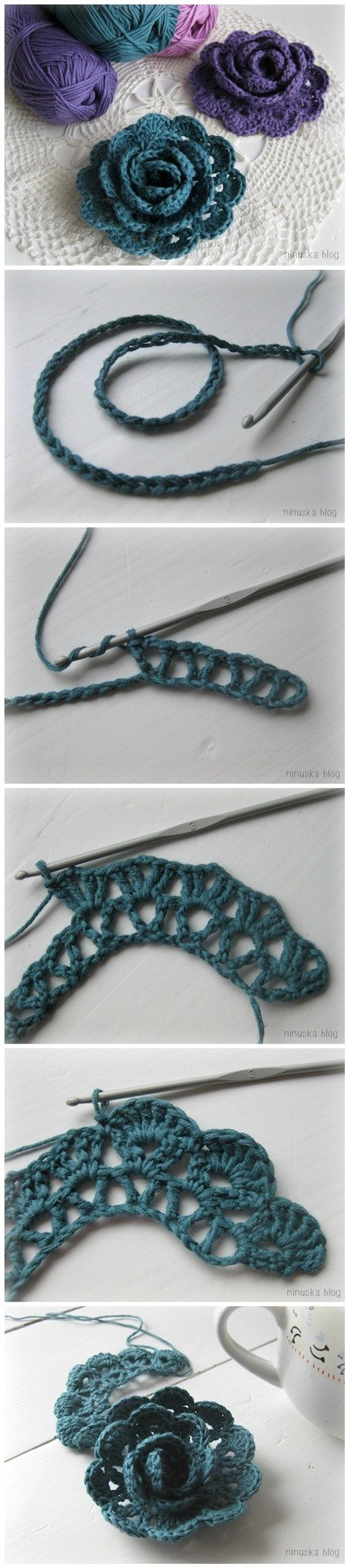 How to crochet lace ribbon rose flowers step by step DIY tutorial instructions…