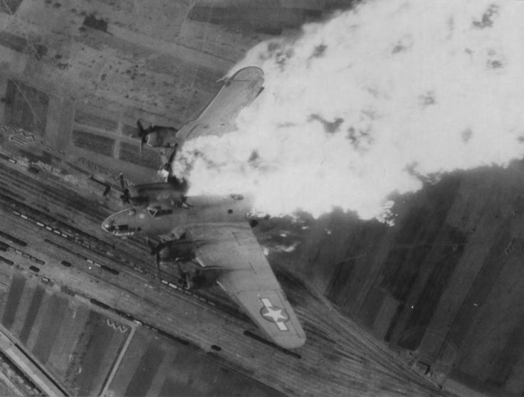 """Hit by flak, USAAF B-17 """"Flying Fortress"""" bomber, serial number 42-5786 840, 483rd Bomber Group goes to the ground during mission over the Yugoslav city of Nis, April 25, 1944.: Numbers 42 5786, April 1944, Flying Fortress, B17 Flying, B 17 Flying, War Ii, April 25, Wwii Warbird, Serial Numbers"""