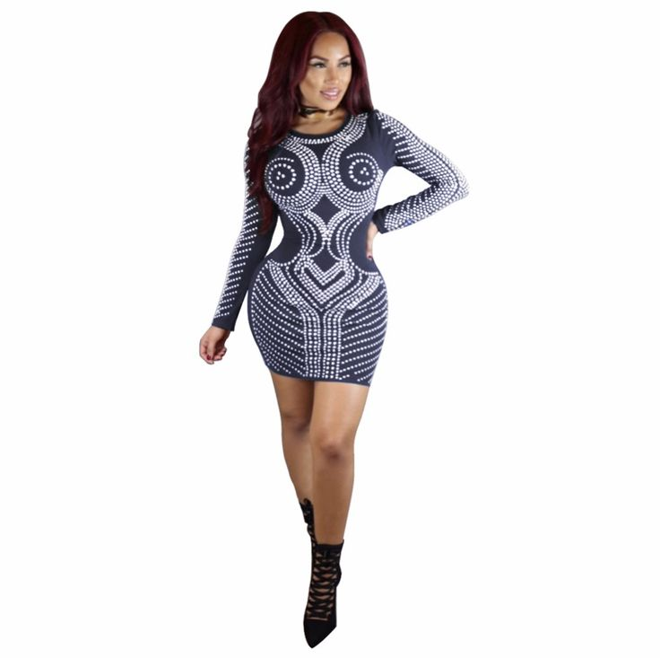 Vintage Design Dot Print Patchwork Mini Spirng Dresses 2017 Full Sleeve Bandage Sexy Night Club Clothing Multi Color Party Dress #Affiliate