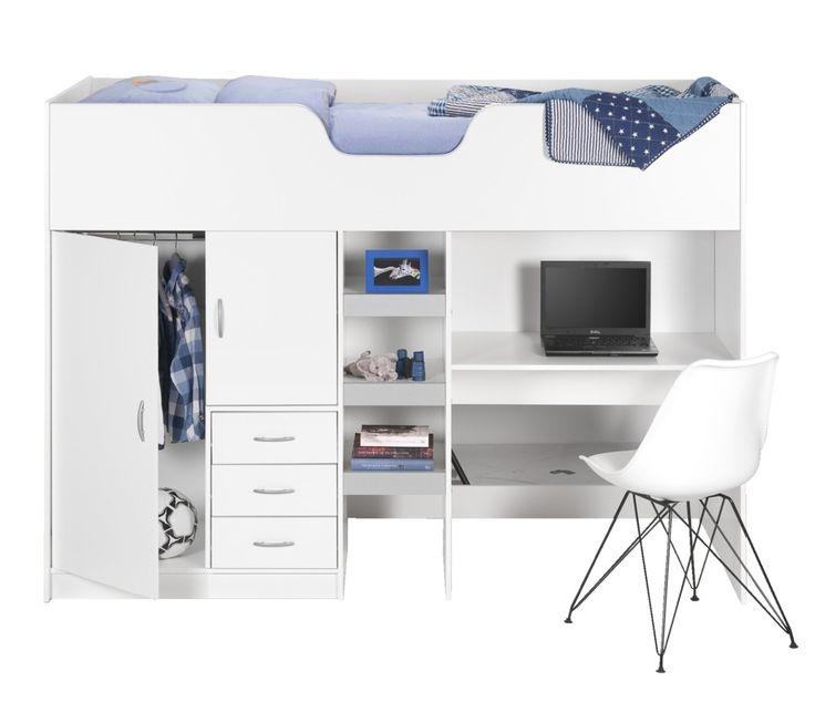 Hoogslaper Manchester: bed, bureau, kast en kledingkast in één! Ideaal voor de kinderkamer #meubel