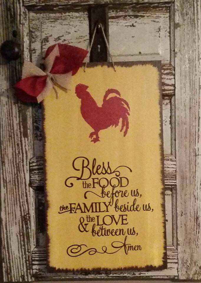 Kitchen Sign, Kitchen Prayer, Bless The Food, Rooster Sign, Kitchen Decor,