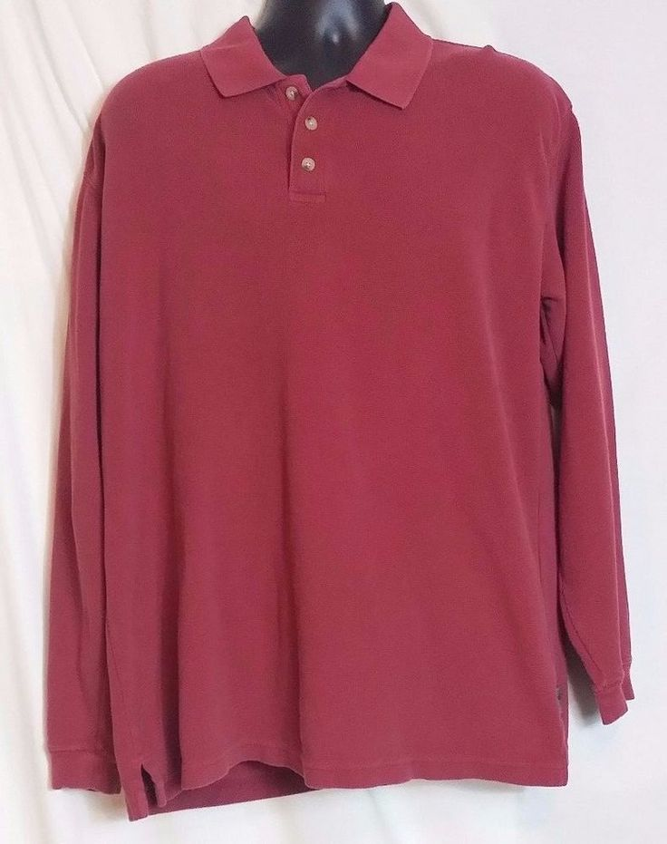 Woolrich Red Long Sleeve Cotton Pique Polo Shirt Size L #Woolrich #PoloRugby