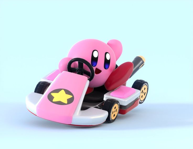 YEAH! KIRBY COULD TOTALY BE IN MARIO KART! IF A SPLATOON GUY AND LINK CAN DRIVE CARS, KIRBY CAN TOO!