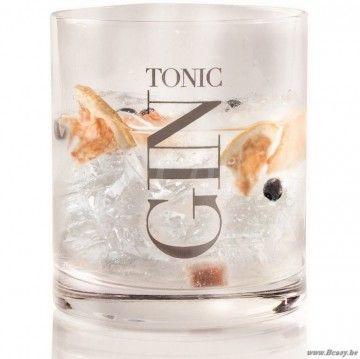 J-Line Set van 6 recht glas met zilveren opschrift gin tonic 10h Assortiment van 6 stuks
