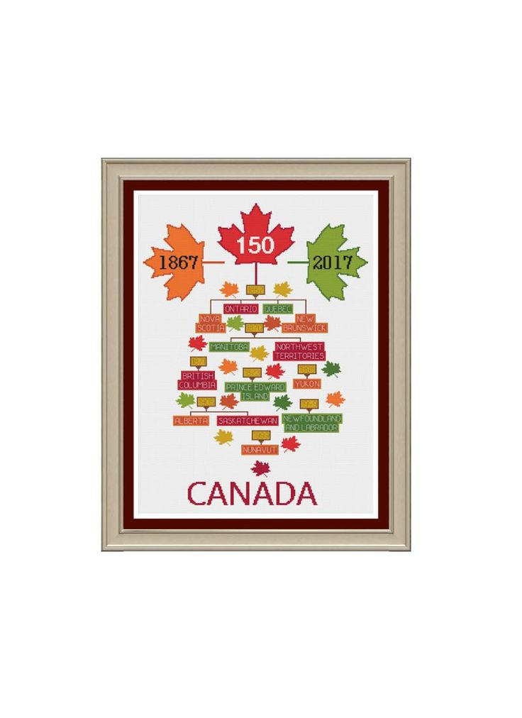 Canada 150 Years Family Tree Cross Stitch Pattern by StitcherzStudio on Etsy