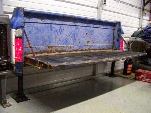 Diy Garage Work Bench Made From An Old Truck Tailgate