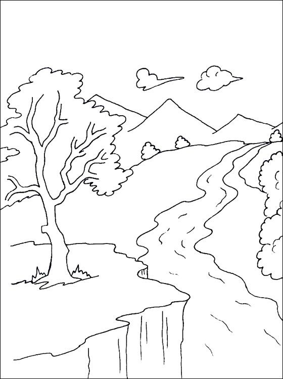 Line Drawing Water : River coloring page pages