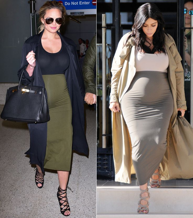 Every Time Chrissy Teigen Channeled Kim Kardashian's Maternity Style - Color-Blocking and Cage Booties  - from InStyle.com