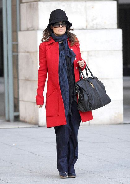 Red Coat ... and ... Salma Hayek Handbags ... uphold your hair with www.TinaRianaHair.com